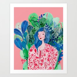 Green goddess waking up in blue forrest Art Print