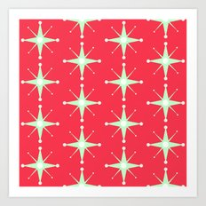 Retro Green Stars on Red Art Print