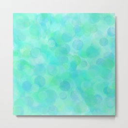 Aqua Lime Beach Glass Dots Metal Print