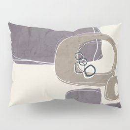 Retro Abstract Design in Taupe and Aubergine Pillow Sham
