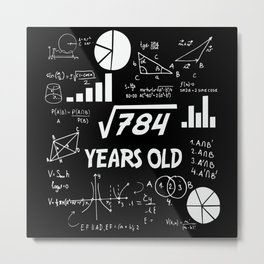 28th Birthday Square Root Math 28 Years Old Bday Metal Print