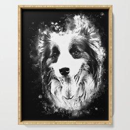 border collie shepherd dog splatter watercolor white Serving Tray