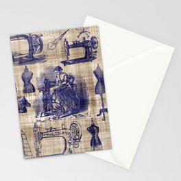 Vintage Sewing Toile Stationery Cards