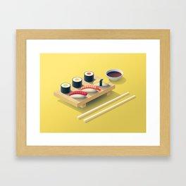 Sushi Isometric - Yellow Framed Art Print