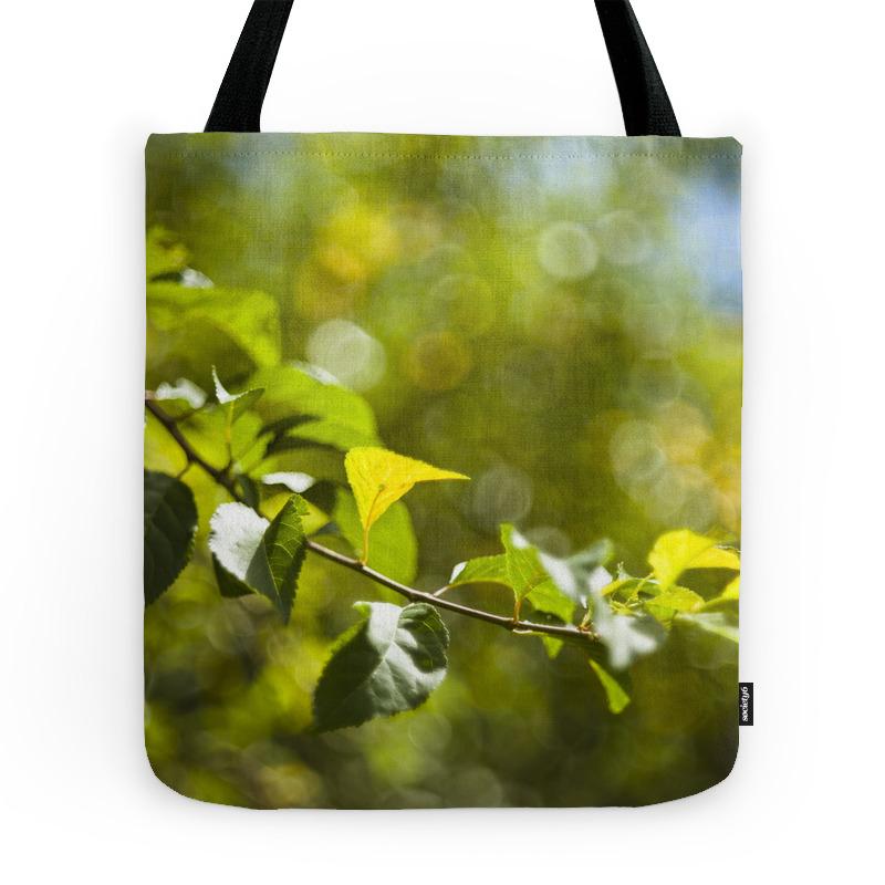Green Leaves And Bokeh Effect Tote Purse by chiaracattaruzzi (TBG7526308) photo