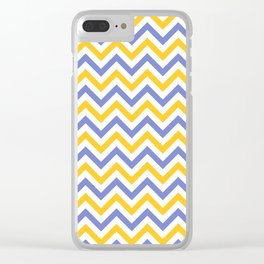 Chevron   White, Yellow & Blue Clear iPhone Case