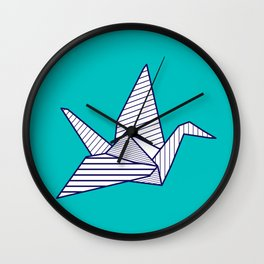 Swan, navy lines on turquoise Wall Clock