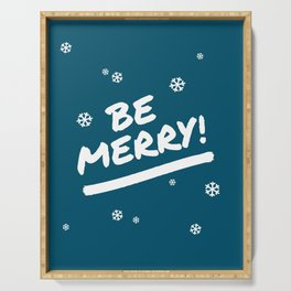 Peacock Blue Be Merry Christmas Snowflakes Serving Tray