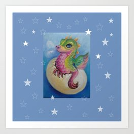 Baby Dragon on the Blue sky with Stars painting Fantasy Illustration Art Print