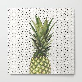 Polka Dot Pineapple Metal Print