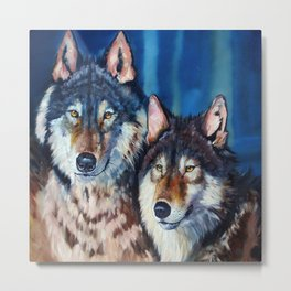 A pair of wolves Metal Print