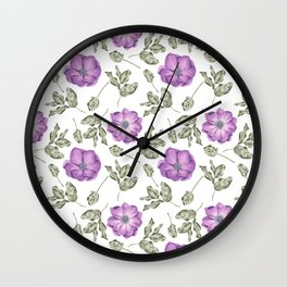 Lavender pastel green hand painted floral leaves pattern Wall Clock