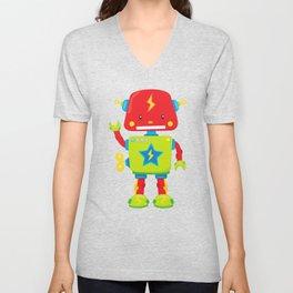 Cute Robot, Little Robot, Colorful Robot Unisex V-Neck
