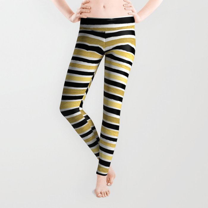 Black and white gold stripes modern brushstrokes minimal art print abstract painting gold foil Leggings