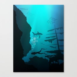 Beautiful coral reef and silhouettes of diver and school of fish in a blue sea Canvas Print