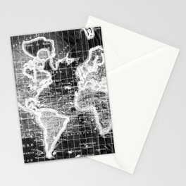 Black and White World Map (1780) Inverse Stationery Cards