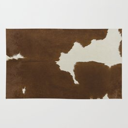 Dark Brown & White Cow Hide Rug