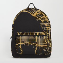 LOS ANGELES CALIFORNIA GOLD ON BLACK CITY MAP Backpack