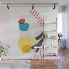 Shape & Hue Series No. 1 – Yellow, Orange & Blue Modern Abstract Wall Mural