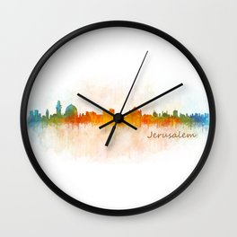 Jerusalem City Skyline Hq v3 Wall Clock