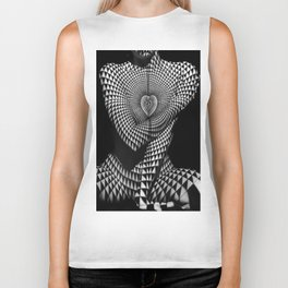 0622-JAL Heart Shape Pattern on Breasts and Nude Body Abstracted by Optical Patten Biker Tank