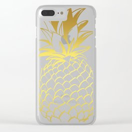 Pineapple Tee, Gold Pineapple, Tropical design, Fruit Tee Clear iPhone Case