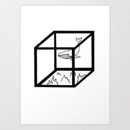 Whale Cubical Art Print