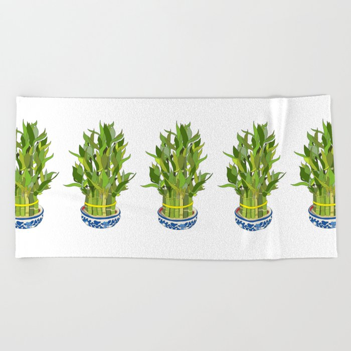 Lucky Bamboo in Porcelain Bowl Beach Towel