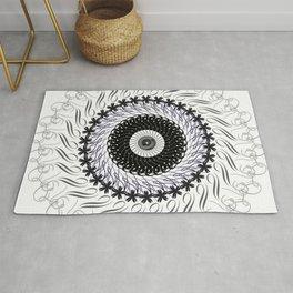 Mandala 01 Black, Silver, Gray, Slate-Blue & Silver Gray on White Background. Rug
