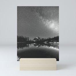 Summer Stars Black and White - Galaxy Mountain Reflection Mini Art Print