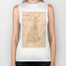 Map Of New Hampshire 1890 Biker Tank