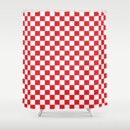 Red Checkerboard Pattern Shower Curtain