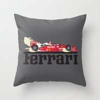 ferrari Throw Pillows featuring Ferrari F1 by Lewys Williams