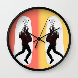 Giraffe in a Suit by Debbie Porter Wall Clock