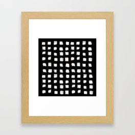Polka Strokes - Off White on Black Framed Art Print