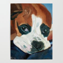 Marley the Boxer Dog Original Portrait Painting Poster