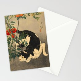 Shotei Takahashi Black & White Cat Tomato Garden Japanese Woodblock Print Stationery Cards