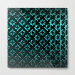 Retro. Black and turquoise satin ornament . Metal Print