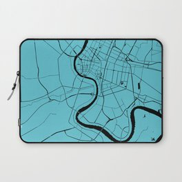 Bangkok Thailand Minimal Street Map - Turquoise and Black Laptop Sleeve