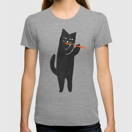 Black cat with flute T-shirt