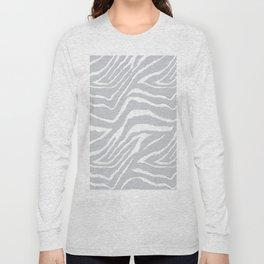 ZEBRA GRAY AND WHITE ANIMAL PRINT Long Sleeve T-shirt