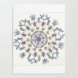 Garden Friends Mandala Poster