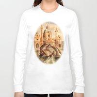 vienna Long Sleeve T-shirts featuring Karlskirche, Vienna, Austria by Vargamari