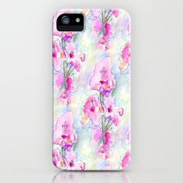 Loose Pink Gladioli in Watercolour iPhone Case