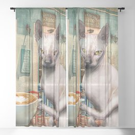 Sphynx Hairless Cat With Coffee Sheer Curtain