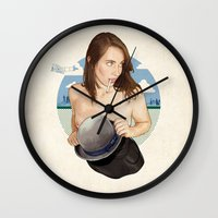 north carolina Wall Clocks featuring Miss North Carolina by keith p. rein