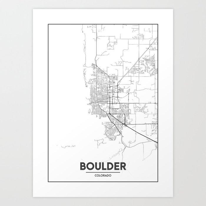 Minimal City Maps - Map Of Boulder, Colorado, United States Art Print