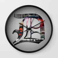 detroit Wall Clocks featuring Detroit by Speed-Photos
