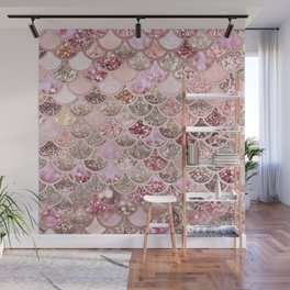 Rose Gold Blush Glitter Ombre Mermaid Scales Pattern Wall Mural