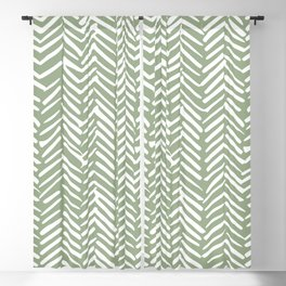 Boho, Abstract, Herringbone Pattern, Sage Green and White Blackout Curtain